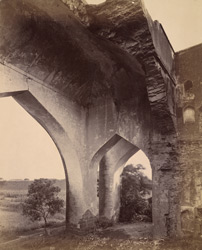 Close view of arches in the interior of the Sangat Mahal at Torweh, near Bijapur.